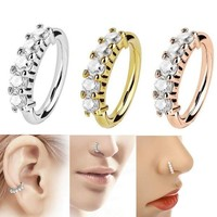 ac DCCKO2Q LNRRABC Shine Earring Crystal Nose Ring Novelty Tragus Stainless Steel  1pc New Helix Body Jewelry Fashion Ear Hoop Cartilage
