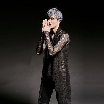 Spring Summer Trend Fashion Male Hollow Mesh Trench Coat Men Asymmetric Cardigan Jacket Punk Rock Gothic Costumes CT418
