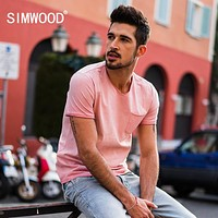 Summer T-Shirts Men Slim Fit Cotton V-neck Pocket Short Sleeve T Shirt Male Clothing