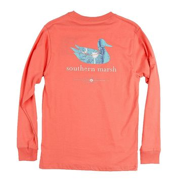 Authentic South Carolina Heritage Long Sleeve Tee in Coral by Southern Marsh