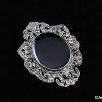 40's Brooch Faux Marcasite Onyx Center Shield Pin