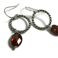 Faceted Garnet Earrings Oval Dangle January by LeafAndTendril