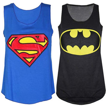Womens Superman Batman Print Ladies Sleeveless Racer Muscle Vest Top - Black/Blue
