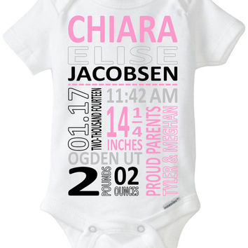 Preemie Baby Gift: Birth Stats Gerber Brand Onesuit Bodysuit - Perfect New Parent Gift! Subway Art / Modern Gift (you select colors)!