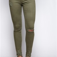 Carla Khaki Ripped Frayed Ankle Jeans at misspap.co.uk