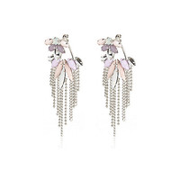 River Island Womens Pastel gem chandelier front and back earrings