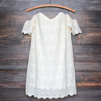 off the shoulder bohemian princess crochet dress - natural