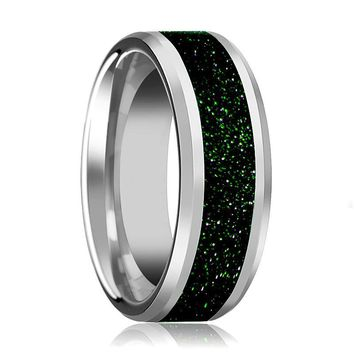 Tungsten Green Goldstone Inlay - Tungsten Wedding Band - Beveled - Polished Finish - 8mm - Tungsten Wedding Ring
