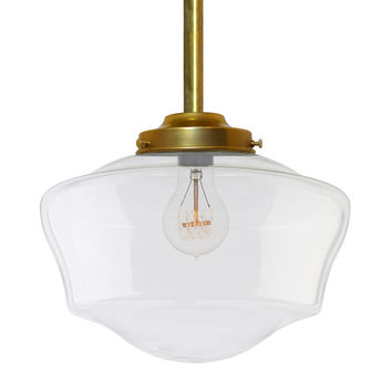 Schoolhouse Clear Glass Brass Pendant Light