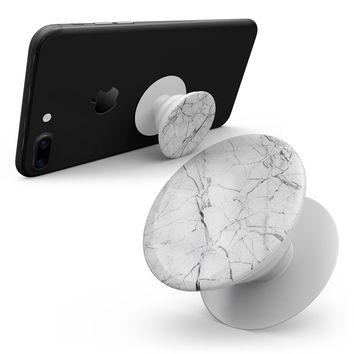 Cracked White Marble Slate - Smartphone Extendable Grip & Stand Skin Kit