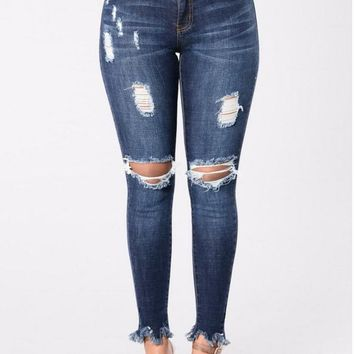 Ripped Jeans Skinny Foot Tassel High-Waist Jeans Washed Blue Denim Full-Length Push Up Jeans