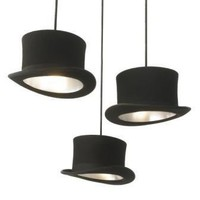 Jeeves  Wooster Top Hat Pendant Lights - Wooster Black Silver