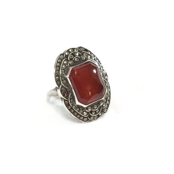 Art Deco Sterling Silver and Carnelian Ring, Uncas Sterling Marcasite Ring, Gemstone Jewelry, 1930s, Vintage Jewelry