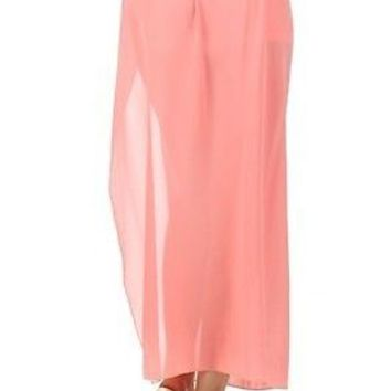 A-Line Layered Sheer Chiffon Side Slit Cut Maxi Pleated Long Skirt with Waistband