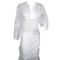Mogulinterior White Bohemian Tunic Dress Georgette Floral Embroidered Kurta Dress L