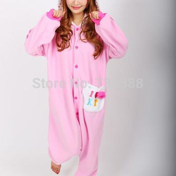 Anime Pink Hello Kitty Cat Adult Cosplay Unisex Onesuit Pajamas for Wome Men One Piece Christmas Party Costumes