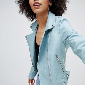 Bershka Leather Look Biker Jacket at asos.com
