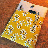 15 inch laptop Macbook Mac book Pro Cover Padded Case Sleeve - Linen with Curry Cotton Fabric Pocket