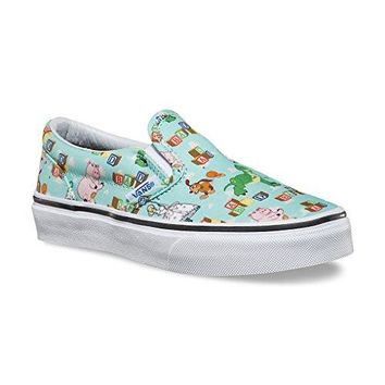 Vans - Unisex-Child Classic Slip-On Shoes, Size: 4.5 M US Big Kid, Color: (Toy Story) Andy'S Toys/Blue Tint