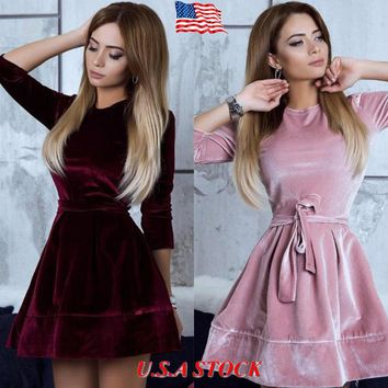 US Women Lady Velvet Bodycon Long Sleeve Evening Party Cocktail Mini Short Dress