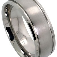 8mm Titanium Wedding Band 2 Grooves Matte Center Ring Comfort Fit, sizes 7 to 14