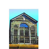 New Orleans Architecture Print, The Derelict, French Quarter Window Art, 4x6 Fine Art Print