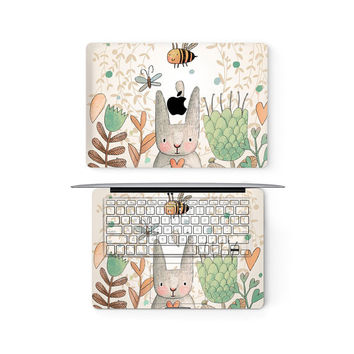 Bunny Rabbit Apple MacBook Keyboard Keys Top Front Lid Cover Decal Skin Sticker Protector Air Pro Retina Touch Bar 3M | 11 12 13 15 17 inch