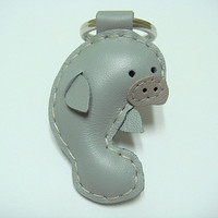Leather Keychain - Layla the Manatee leather charm ( Grey )