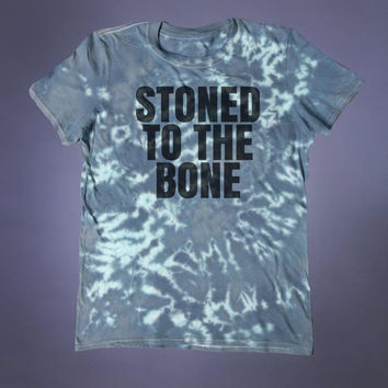 Grunge Marijuana Clothing Stoned To The Bone Slogan Tee Stoner Blunt Smoker Dope Tumblr T-shirt