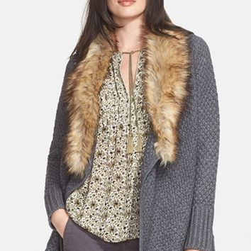 Women's Joie 'Jamilee C' Faux Fur Collar Wool Cardigan,