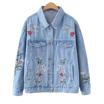 New Jeans Jacket Women Floral Printed Long Sleeve Coats Loose Fashion Embroidery Denim