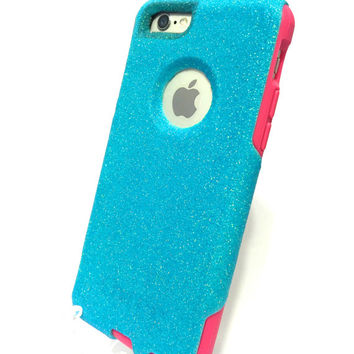 Custom iPhone 6 (4.7 inch) Glitter Otterbox Commuter Cute Case,  Custom  Glitter Blueberry slush / Pink Otterbox Color Cover for iPhone 6