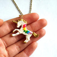 Unicorn Necklace Rainbow Unicorn Necklace Kawaii Gold Pony Pendant Kawaii Jewelry Rainbow Jewelry