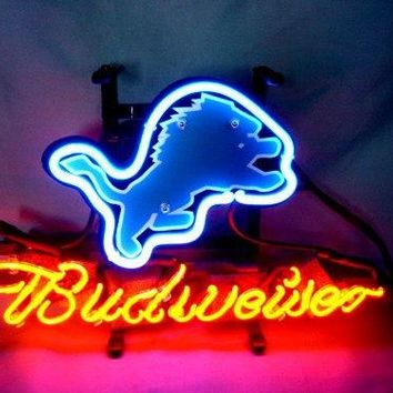 """Business NEON SIGN board For  DETROIT LIONS   Football  Basketball Real GLASS Tube BEER BAR PUB Club Shop Light Signs 17*14"""""""