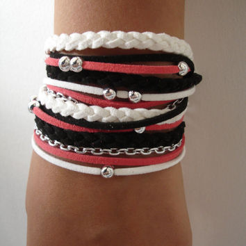 BLACK -RED - WHITE  Suede Cord Wrap Bracelet,With Silver Accents,Handmade Jewelry,Bohemian bracelet