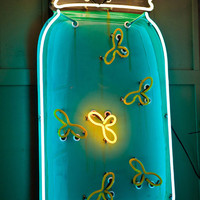 5ft Neon Fireflies in a Mason Jar The Junk Gypsy Co.