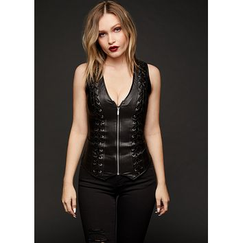 Blackened Faux Leather Lace Up Detail Top with Zipper