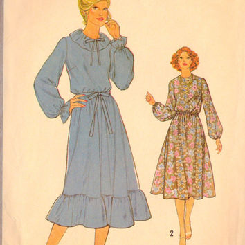"1970s Misses Dress and Tie Belt Vintage Sewing Pattern Simplicity 8819 bust 34"" uncut"