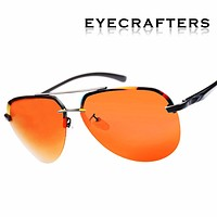 Brand Pilot Sunglasses Mens Polarized Driver Mirror Sunglasses Fashion Polaroid Lens Spring Hinge Metal Sunglasses 143 Orange