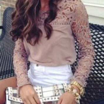 Multi Color Cut-Out Long Sleeve Blouse