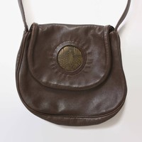Vintage 70s Boho PURSE / 1970s Dark Brown Soft Leather & Brass Shepard Shoulder BAG