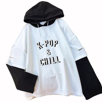 KPOP BTS Bangtan Boys Army &Chill Hoodies Women  Boys Letter Printed Fans Supportive  Album Hooded Casual Fake Two Pieces Splicing Sweatshirt AT_89_10