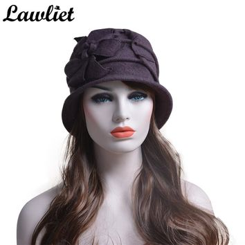 Ladies Elegant Winter Cap 100% Wool Warm Flower Floppy Hats for Women Middle Age Female Bucket Fedoras Hats For Gift Set