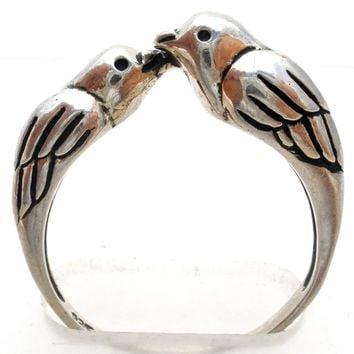 Sterling Silver Ring with Lovebirds Size 9