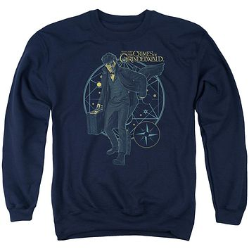 Fantastic Beasts 2 Sweatshirt Newt Holding Suitcase Navy Pullover