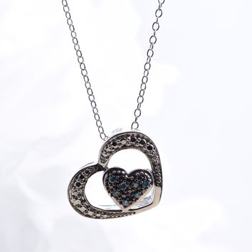 0.07 Cttw White Diamond Sterling Silver Blue and Double Heart Pendant Necklace (G-H Color, I2-I3 Clarity), 18""