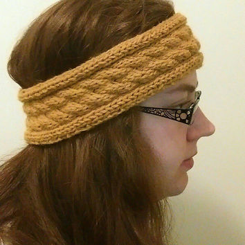 Autumn Yellow Ear Warmer Headband, Yellow Winter Headband, Mustard Yellow Ear Warmers