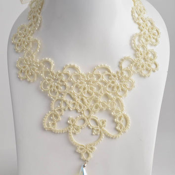 Handmade designer lace tatted necklace woven of satin threads and Czech beads