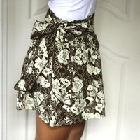 ON SALE Brown Floral Mini Skirt with Sash Belt