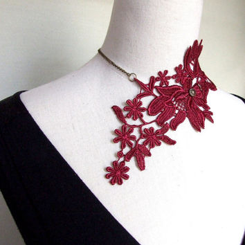 SALE large oversized lace bib necklace flower choker dark red bronze chain plant handcrafted Fabric jewelry woman wedding party